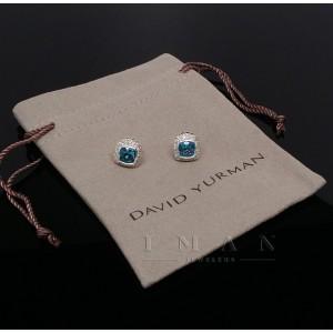 David Yurman Petite Albion 7mm Earrings BLUE TOPAZ and DIAMONDS