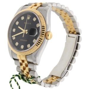 "Rolex Datejust 116233 ""G"" Original Black Jubilee Diamond Dial 2-Tone 36mm Unisex Watch"