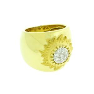 "Carrera Y Carrera 18K Yellow Gold ""sol Y Sombra"" Diamond Sun Ring"