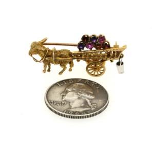 Yellow Gold Amethyst, Sapphire, Citrine Womens Brooch
