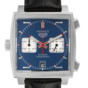Tag Heuer Monaco Chronograph Blue Dial Mens Watch CAW211P Box Papers