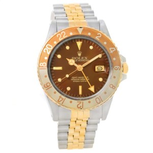 Rolex 16753 GMT Master Rootbeer Gold Steel Nipple Dial Vintage Watch