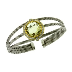 Charriol 18K Yellow Gold and Steel Pave Set Diamond & Lemon Quartz Cuff Bangle