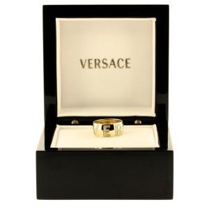 Versace 18K Yellow Gold Pave Diamond Logo Ring Size 6.25