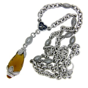 Judith Ripka Sterling Silver Citrine & White Sapphire Necklace