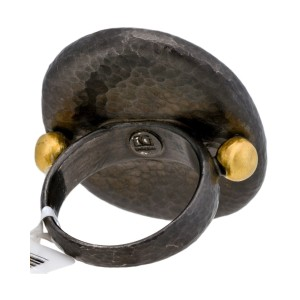 Gurhan Yellow Gold And Black Sterling Silver Large Pebble Ring