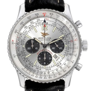 Breitling Navitimer 50th Anniversary Silver Dial Mens Watch A41322 Box Papers