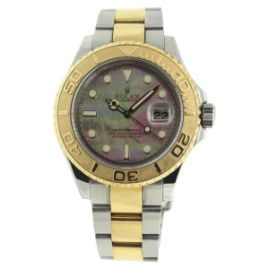 Rolex Yachtmaster 16623 Steel/18K Gold Black Mother of Pearl Dial Mens 36mm Watch