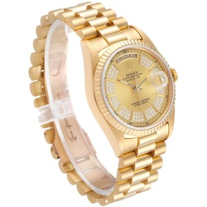 Rolex President Day-Date Yellow Gold String Diamond Dial Mens Watch 18238