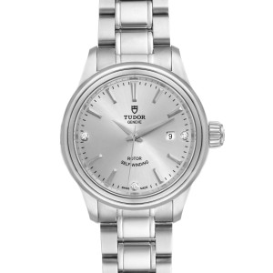 Tudor Style 28mm Silver Diamond Dial Steel Ladies Watch