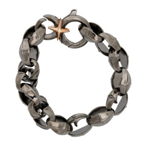 Stephen Webster 925 Sterling Silver Highwayman Tyre Texture Black Bracelet