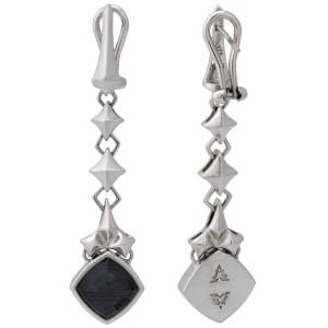 Stephen Webster 925 Sterling Silver Superstud Grey Crystal Haze Dagnle Earrings