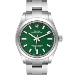 Rolex Midsize 31mm Green Dial Automatic Steel Ladies Watch 277200 Unworn