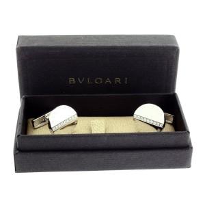 Bulgari Bvlgari 18K White Gold Diamond Cufflinks