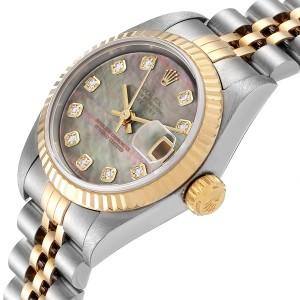 Rolex Datejust Steel Yellow Gold MOP Diamond Ladies Watch 79173
