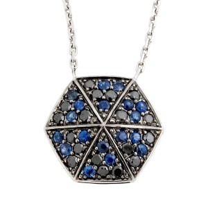 Stephen Webster 18K White Gold with Blue Sapphire & 0.49ct Black Diamond Necklace