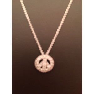 Roberto Coin 18K White Gold with Diamond Tiny Treasures Peace Sign Necklace
