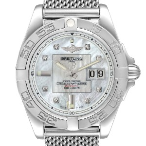 Breitling Windrider Cockpit 41 Steel Mother of Pearl Diamond Watch A49350