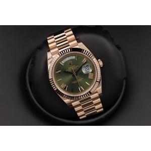 Rolex Day-Date 228235 Rose Gold Green Roman Dial 40mm Mens Watch 2017