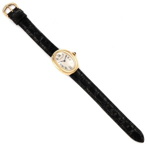 Cartier Baignoire Silver Dial Black Strap Yellow Gold Ladies Watch 1954