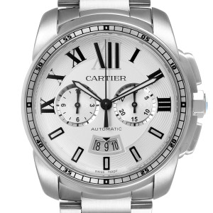 Cartier Calibre Silver Dial Chronograph Mens Watch