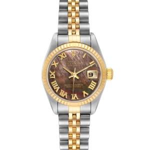 Rolex Datejust Steel Yellow Gold Black MOP Ladies Watch 79173
