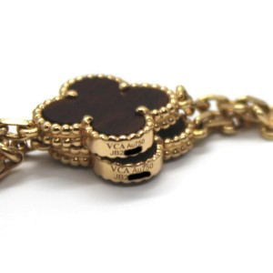 Van Cleef & Arpels 18K Rose Gold Bois d'Amourette Letter Wood Alhambra Set of 2 Necklaces