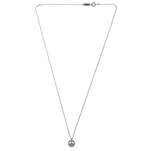 Tiffany & Co. 18K White Gold with Diamond Peace Pendant Necklace