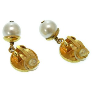 Chanel Vintage Gold Tone Hardware with Fake Pearl Earrings
