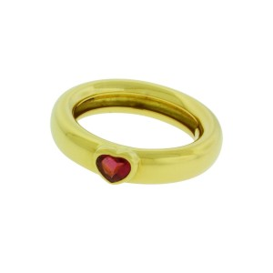 Tiffany & Co. 18K Yellow Gold with Pink Tourmaline Heart Ring Size 6