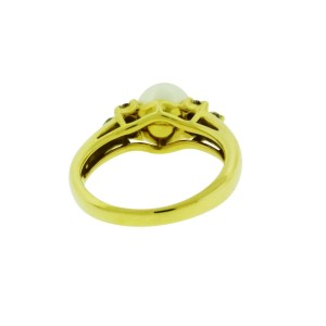 Tiffany & Co. 18K Yellow Gold with Diamond and Cultured Pearl Ring Size 6