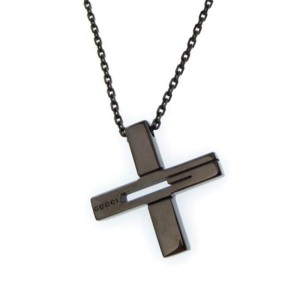 Gucci 925 Sterling Silver Cut out G cross Pendant Necklace