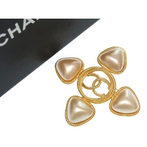 Chanel Gold Tone Hardware with Simulated Glass Pearl Coco Mark Brooch