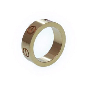 Cartier Love 18K Rose Gold with Pink Sapphire Band Ring Size 4