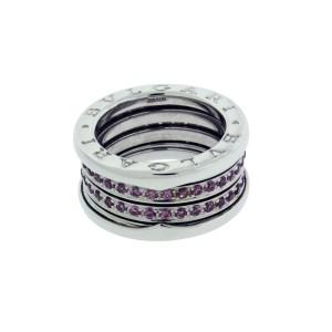 Bulgari B.Zero 1 18K White Gold with Pink Tourmaline 4 Band Ring 5.75