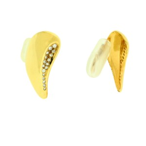 Tiffany & Co. Elsa Peretti Vintage 18K Yellow Gold with 0.50ctw. Diamond Clip on Earrings