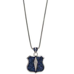 Stephen Webster 925 Sterling Silver & Blue Sapphire Highwayman Shield Pendant Necklace
