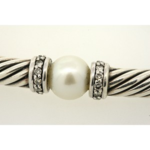 David Yurman 925 Sterling Silver Cultural Pearl & 1/2ct Diamond Cable Chain Necklace