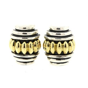 Lagos Caviar Sterling Silver & 18K Yellow Gold Large Scalloped Hoop Earrings