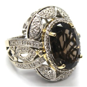 14k White Gold Diamond & Smoky Quartz Ring Size 3.5