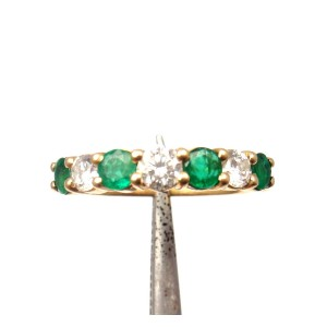 Fred Of Paris 18K Yellow Gold with 0.50ct Diamond and Emerald Ring Size 4