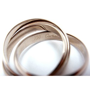 Cartier Trinity 18K White Gold Rolling Band Anniversary Ring Size 5.25