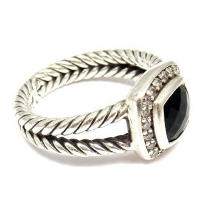 David Yurman Albion Sterling Silver Onyx Diamond Ring Size 6.75