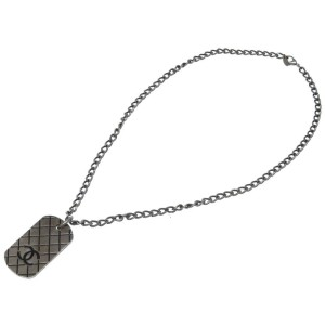 Chanel Silver Tone CC Tag Necklace