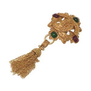 Chanel Gold Tone Vintage CC Brooch