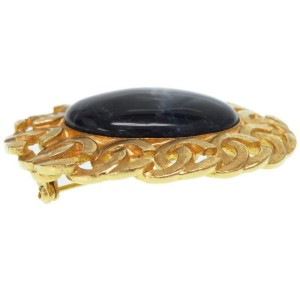 Chanel Gold Tone Navy Stone Vintage Brooch