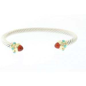 David Yurman 14K Yellow Gold, Sterling Silver Carnelian, Turquoise Bracelet