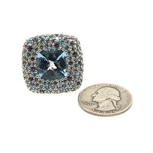John Hardy Sterling Silver Topaz, Aquamarine, Iolite Ring Size 8