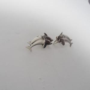 Georg Jensen 925 Sterling Silver Dolphin Stud Earrings
