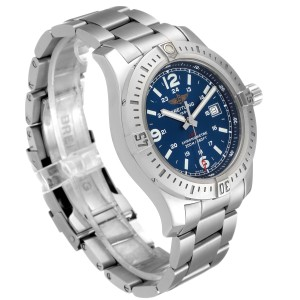 Breitling Colt Blue Dial Stainless Steel Mens Watch A74388 Box Papers